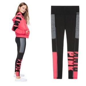 VS PINK Bonded High Waist Leggings Mesh Neon